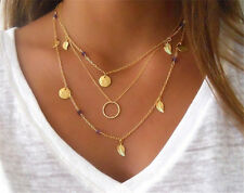 Celeb Multi-Layer Chain Circle Coin Leaf Glass Crystal Bead Pendant Necklace Hot