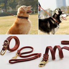 Large Dog Leashes Collar Cowhide Dog Chain Genuine Leather Pet Dog Leashes BPM