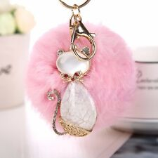 Women Fluffy Rabbit Fur Cat Pompom Ball Car Pendant Handbag Charm Key Chain Ring