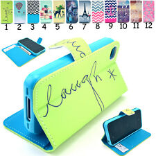 PU Leather Scrawl Patterned Mini Phone Case Wallet Flip Stand Card Holder Pouch