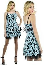NWT Too Fast RITZY SWALLOWS Blue Dress HITCHCOCK BIRDS Sparrows Banjo & Cake $60