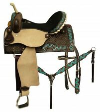 "Circle S TEAL Zig Zag Barrel Saddle Headstall & Breastcollar SET 14"",15"",16"""