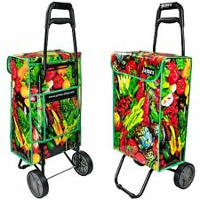 Wheeled Grocery Shopping Trolley Folding Wheels Large 40L Bag Cart Basket Funky