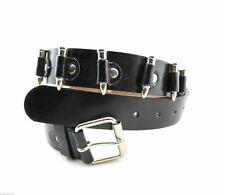 Black Leather Silver Replica Bullets Biker Punk Rock Belt Strap w/ Roller Buckle