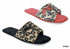 Ladies Leopard Print Open Toe Mule Slippers - Red Or Black Sole