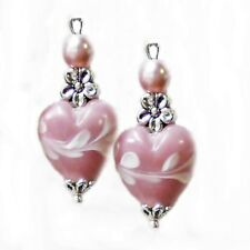 Earrings, Pink lampwork hearts and pearls Valentine - clip on or pierced