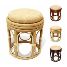 Pier Handmade Design Rattan Wicker Round Ottoman Stool with Attached Cushion