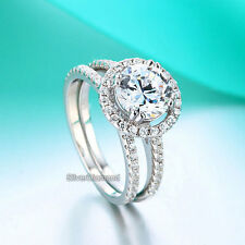 Fine 925 Sterling Silver Halo Round Cut Engagement Ring Set Simulated Diamond