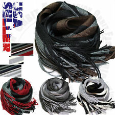 Striped Colors Wrap Scarves Winter Warm Fleece Scarf Soft Mens Womens Casual New