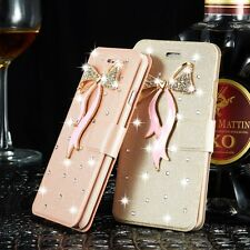 Luxury Bling Crystal Flip Stand Wallet Case Cover For iPhone Samsung Phone