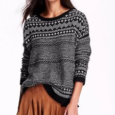 old navy woman black geo pattern wool blend Crew-Neck Pull Over Sweater Knit Top