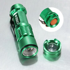MINI 1200LM ZOOM 3Mode Adjustable Focus CREE Q5 LED Flashlight Torch Light Green