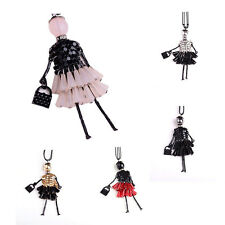 Doll Pendant Chain Beads Dress Necklace Jewelry Girl Lady Charm jewelry AT