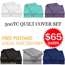 500TC Pure Egyptian Cotton Aus Bed Quilt/Doona Cover Pillowcase Set 6 Colors