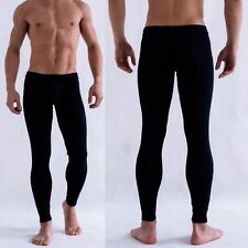 Men Smooth Bulge Pouch Long Johns Thermal Pants Underwear Low Rise Trousers M-XL