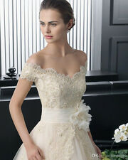New White/Ivory Wedding Dress Lace Bridal Gown Custom Size 4-6-8-10-12-14-16-18+