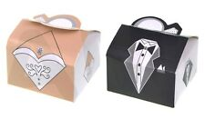 BRIDE & GROOM DRESS & SUIT RING WEDDING GIFT FAVOUR BOXES, SWEETS PAIR/SINGLES