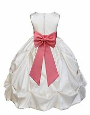 IVORY TAFFETA SATIN DRESS FLOWER GIRL BRIDESMAID FORMAL PICK-UP PAGEANT HOLIDAYS