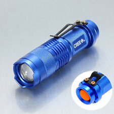 New MINI 1200LM ZOOM 3-Mode Adjustable Focus CREE Q5 LED Flashlight Torch Blue