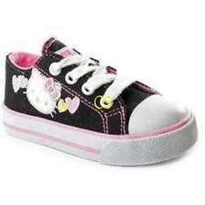 NWT $50-Girls Sanrio Hello Kitty Black & White Canvas Sneakers Shoes-sz 10 & 13