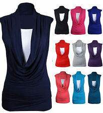 NEW Womens Ladies Cowl Neck Contrast Insert Long Vest T-Shirt Top Size UK 8-26