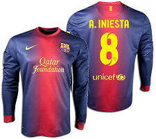 NIKE FC BARCELONA ANDRES INIESTA LONG SLEEVE HOME JERSEY 2012/13