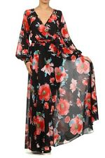 Black Red Floral Chiffon Faux Wrap Maxi Dress Vintage Gown Full Sweep Long Skirt