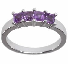 Amethyst Gemstone Square Row Sterling Silver Ring