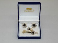 Mens Cuff Links Set Fratello Hand Crafted European Classic  Gold  Black CPT45A