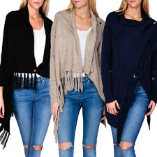 Ladies Knit Cardigan Sweater Jacket Fringes Turn-up Style S M 34 36 38 top