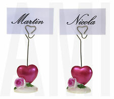 2X RED HEART & ROSE WEDDING NAME PLACE CARD PHOTO HOLDERS TABLE DECORATION