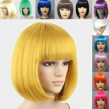 Women's Lady Sexy Short BOB Hair Wig With Straight Bangs Cosplay Party Full Wigs