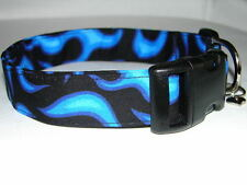 Charming Black with Blue Racing Flames Dog Collar