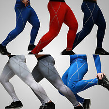Mens Sports Compression Base Layer Bottoms Under Skin Tight Fitness Long Pants