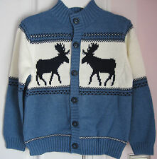 NWT Janie and Jack Alpine Adventures Moose Blue Fair Isle Cardigan Sweater 5 6