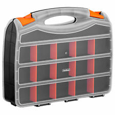 """VonHaus 15"""" Double Sided Plastic Storage Box Organiser Case with 32 Compartments"""