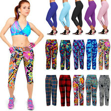 3/4 Sports YOGA Fitness Capri Pants Womens Cropped Leggings Exercise Gym Bottoms