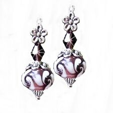 Earrings, Burgundy Purple lampwork and crystal silver, clip on or pierced