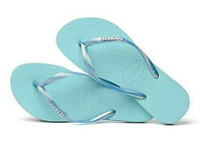 Havaianas Women`s Flip Flops Slim Logo Metallic Sandals Ice Blue NWT All Sizes
