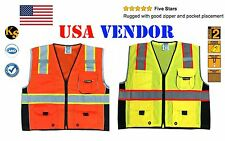 Class 2 Executive Deluxe Reflective ANSI Safety Vest Orange Yellow Hi Vis Strips
