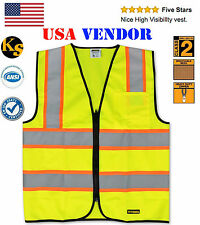 Class 2 Front Zipper Contrast Trimming Reflective Safety Vest with Pen Pocket