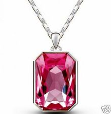 STUNNING 9CT WHITE GOLD LAYERED SILVER NECKLACE WITH LARGE PINK CRYSTAL