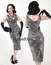 NWT Tatyana BOMBSHELL SILVER Dress 50s SEQUIN PENCIL 40s BETTIE PAGE PINUP $170
