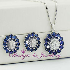 18K White GOLD GF Blue SAPPHIRE  Womens NECKLACE SET SWAROVSKI CRYSTAL X4113