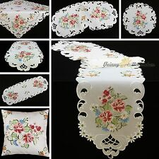 Rose Table Cloth Topper Runner Doily Cushion Cover White Pink Flower Embroidery