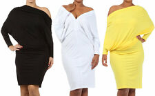 PLUS ON OFF SHOULDER DOLMAN SLEEVE OPEN BACK REVERSIBLE CONVERTIBLE MIDI DRESS