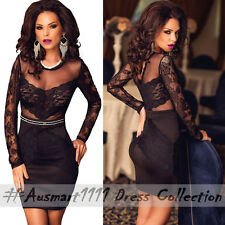 Black Mesh Lace Long Sleeve Casual Party Dress Little Stretch Bodycon Clubwear