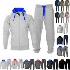 Mens Essentials Contrast Fleece Tracksuit Hoodies Jogging Bottom Joggers Gym Set