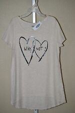 Old Navy Girl's Double Heart Why Not? Short Sleeve Tapered Shirt, Sizes L, XL