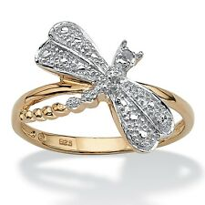 PalmBeach Jewelry Diamond Accent 18k Gold over Sterling Silver Dragonfly Ring